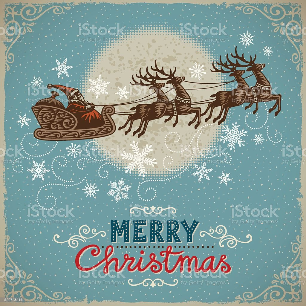 vintage christmas background with santa and reindeers stock vector