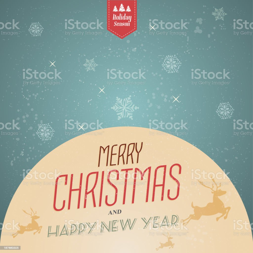Vintage Christmas Background With Typography. Vector royalty-free stock vector art