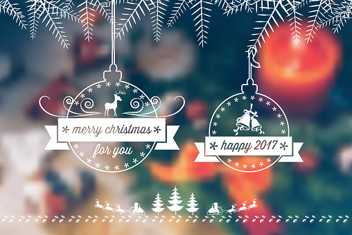 vintage christmas balls on blurred festive background
