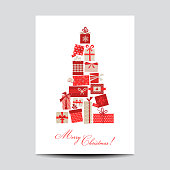 Vintage Christmas Card - Christmas Tree from Gifts - in vector