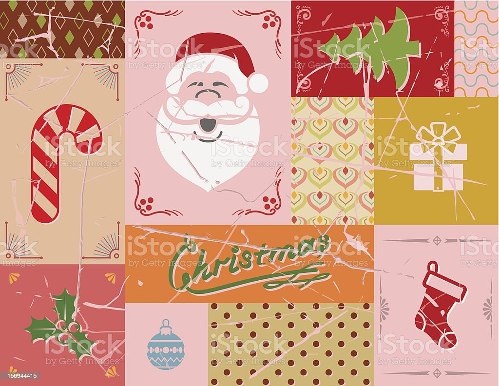 Vintage christmas card in red colors royalty-free stock vector art