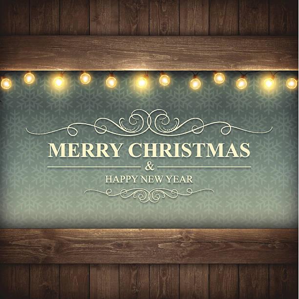 ビンテージクリスマスカード-merry christmas - ウッドテクスチャ点のイラスト素材/クリップアート素材/マンガ素材/アイコン素材