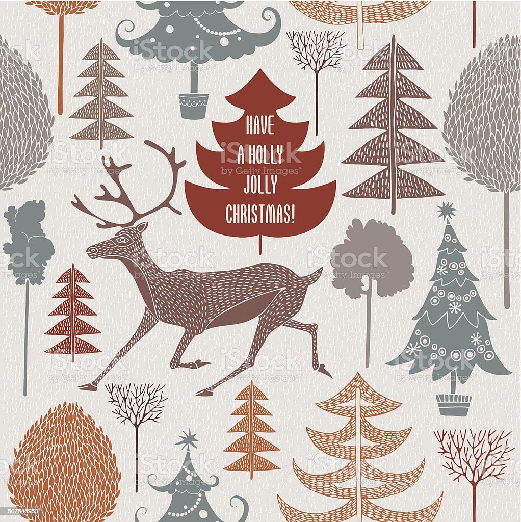 Sfondi Natalizi Renne.Vintage Cartolina Di Natale Renne E Alberi Di Natale Seamless Sfondo