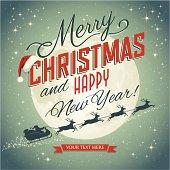 Vintage christmas card with Santa's sleigh. High res jpeg included.