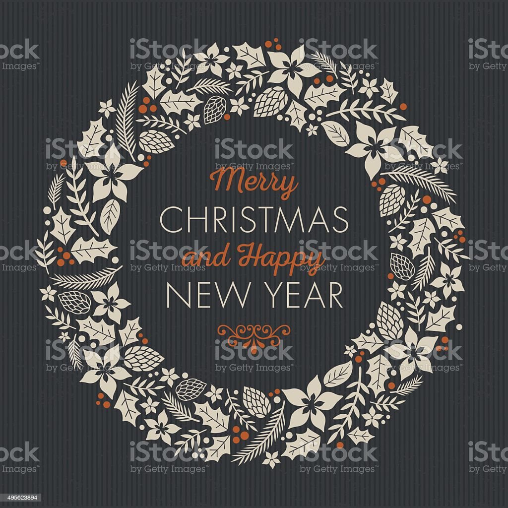 Vintage Christmas Card vector art illustration