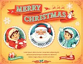 Retro Christmas card design with Santa Claus, snowman, children and banner illustrations. All objects are grouped and layered separately. Eps10 file, illustration contains transparency effects in gradients. High resolution JPEG, AI-CS3 and CS5 files included.