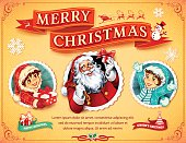 Retro Christmas card design with Santa Claus, snowman, children and banner illustrations. All objects are grouped and layered separately. Eps10 file, illustration contains transparency effects. High resolution JPEG, AI-CS3 and CS5 files included.