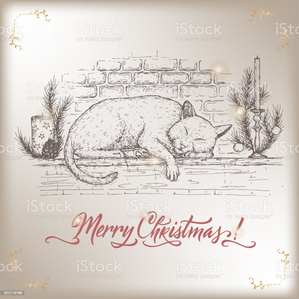 Wunderbar Vintage Weihnachten Karte Mit Katze Schläft Auf Verzierten  Kamin Kaminsimses Und Urlaub Pinsel Schriftzug Lizenzfreies