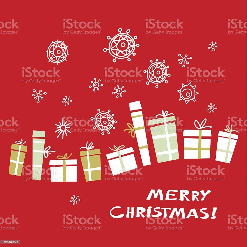 Vintage Carte de Noël avec des cadeaux et de flocons de neige. illustration vectorielle. vintage carte de noël avec des cadeaux et de flocons de neige illustration vectorielle – cliparts vectoriels et plus d'images de abstrait libre de droits