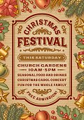 Vintage Christmas festival poster in woodcut style. Editable EPS10 vector illustration with clipping mask and transparency. Includes high resolution JPG.