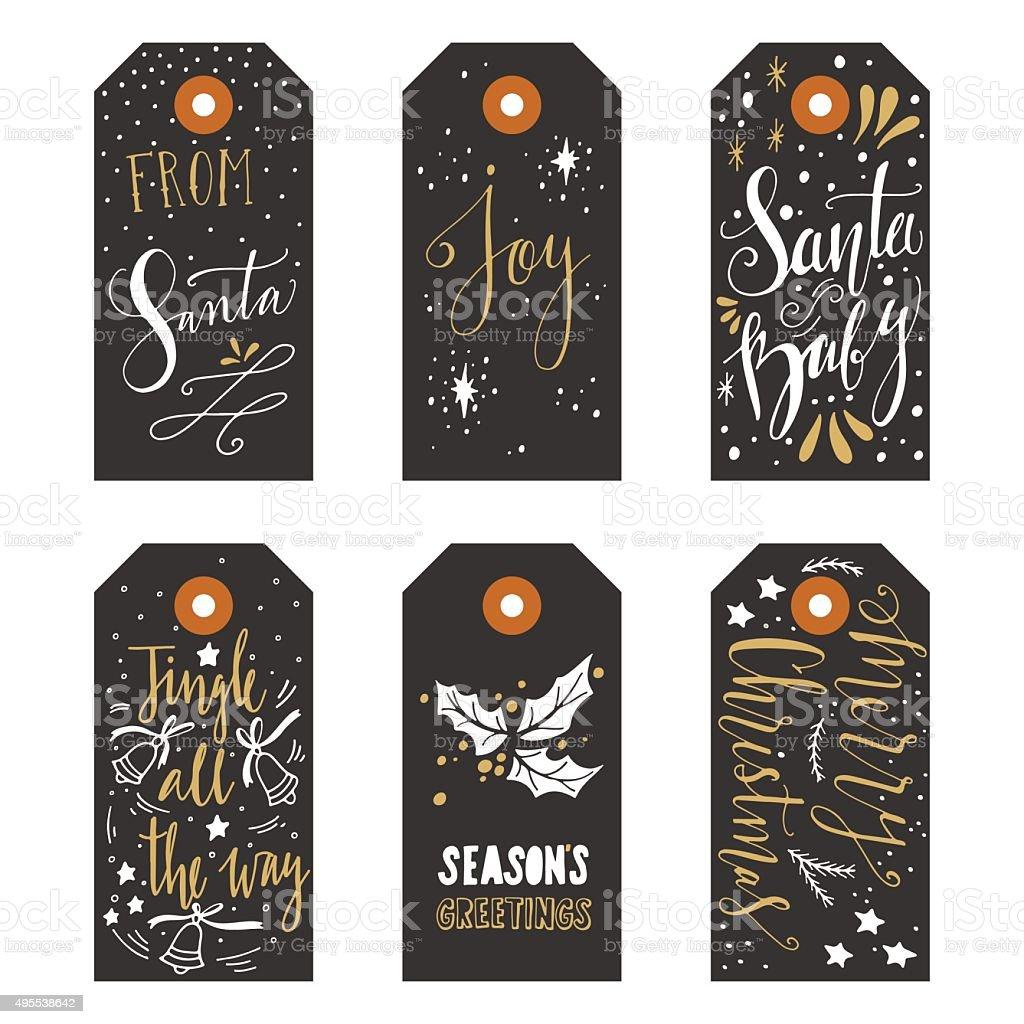 Vintage Christmas gift tags vector art illustration
