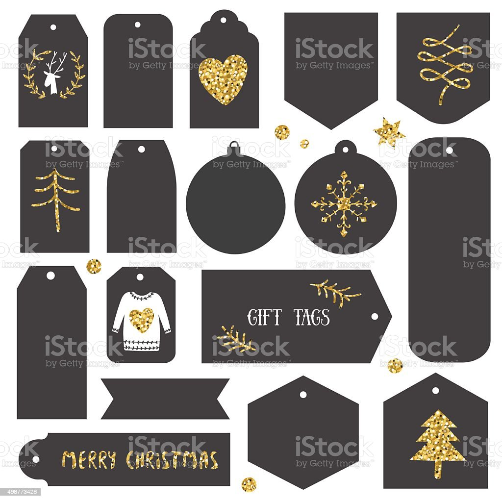 Vintage Christmas Gift Tags Stock Vector Art & More Images of 2015 ...