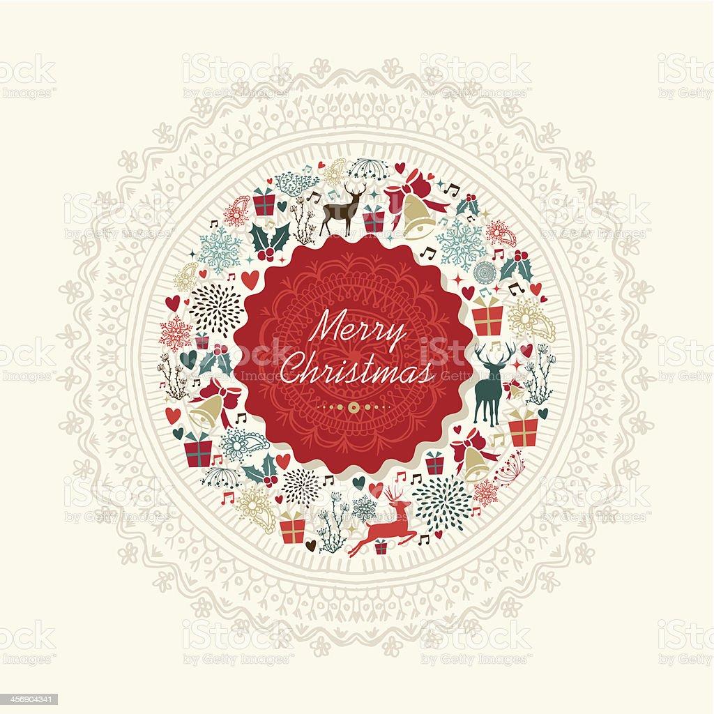 Vintage Bilder Weihnachten.Vintage Weihnachten Grußkarte Hintergrund Stock Vektor Art Und Mehr