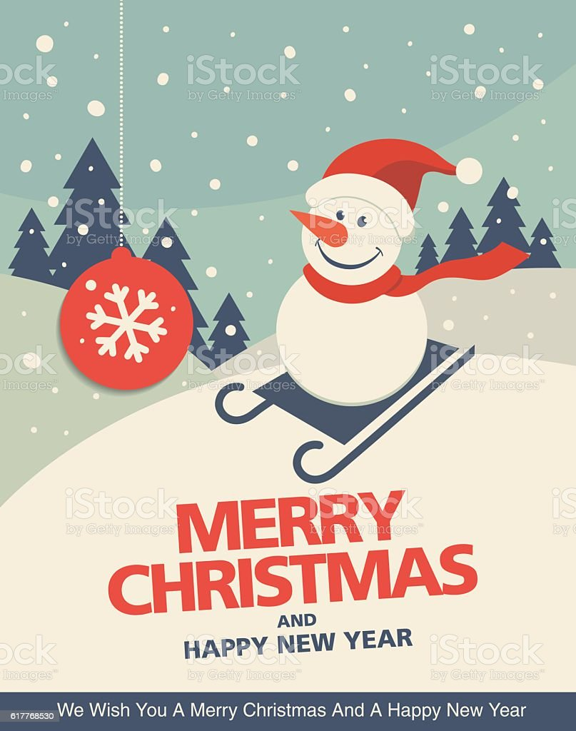Vintage christmas greeting card design with Snowman in a sledge - Illustration vectorielle