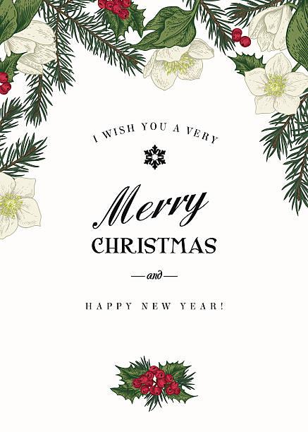 ビンテージクリスマスのグリーティングカード。 - ホリデーシーズンと季節のフレーム点のイラスト素材/クリップアート素材/マンガ素材/アイコン素材