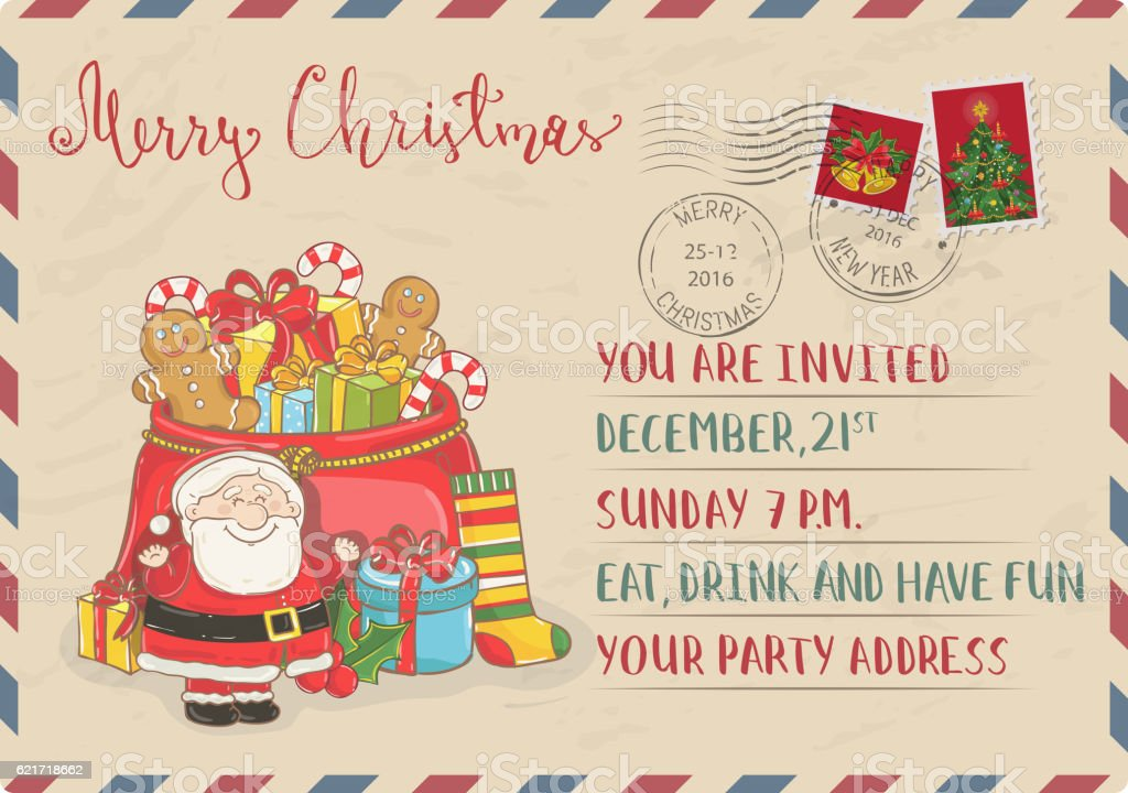 Vintage Christmas Invitation With Postage Stamps stock vector art ...