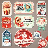Vector set of Christmas labels with Santa Claus, present, children, sleigh and hat illustration in retro style. All objects are grouped and layered separately. Eps10 file, illustration contains transparency effects in gradients. High resolution JPEG, AI-CS3 and CS5 files included.