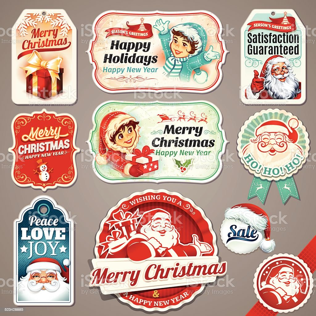 Vintage Weihnachten Etiketten – Vektorgrafik