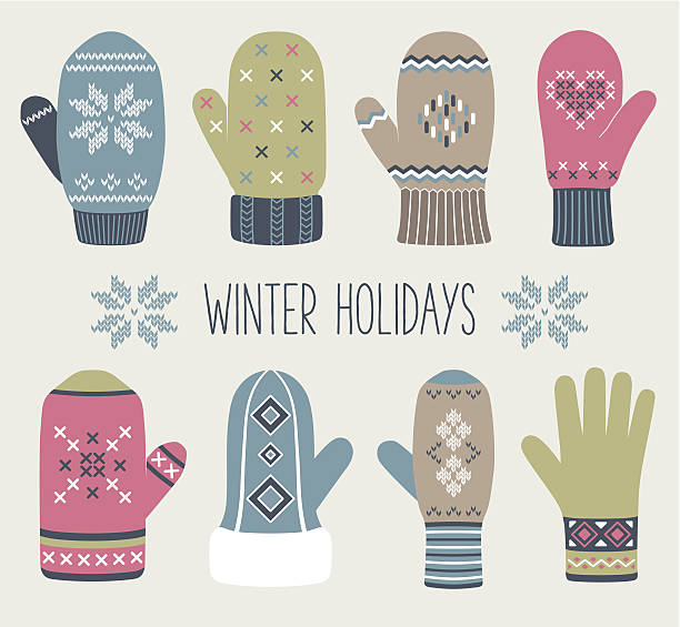 Vintage Christmas mittens Vintage Christmas mittens, winter set mitten stock illustrations