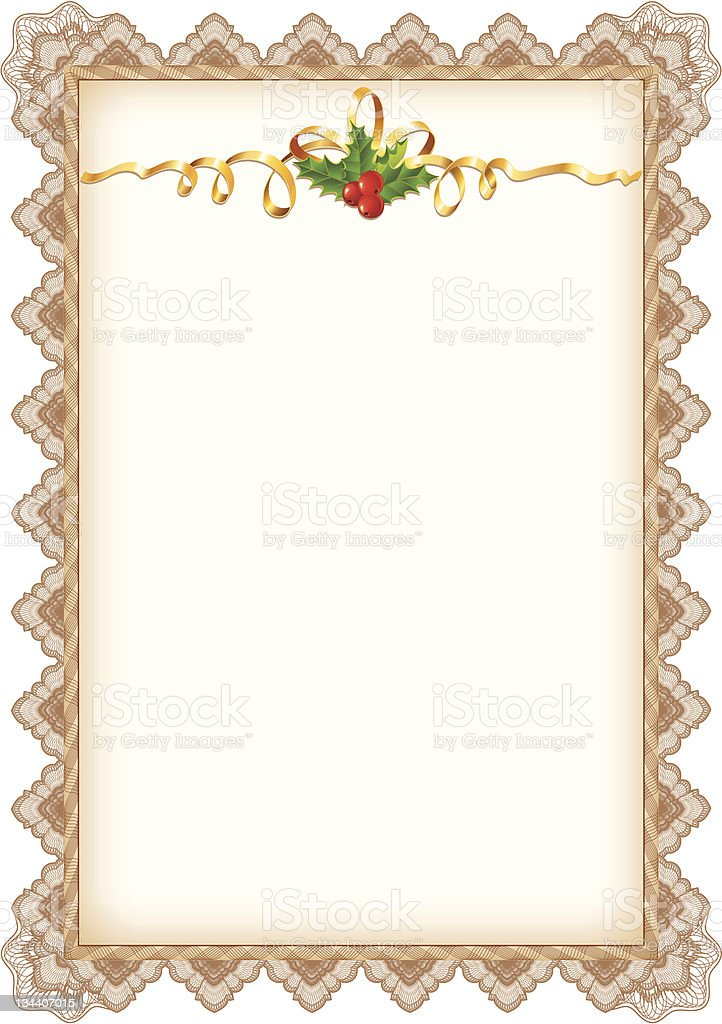 Vintage Christmas Page with Holly, Gold Ribbon and Guilloche Border royalty-free vintage christmas page with holly gold ribbon and guilloche border stock vector art & more images of abstract