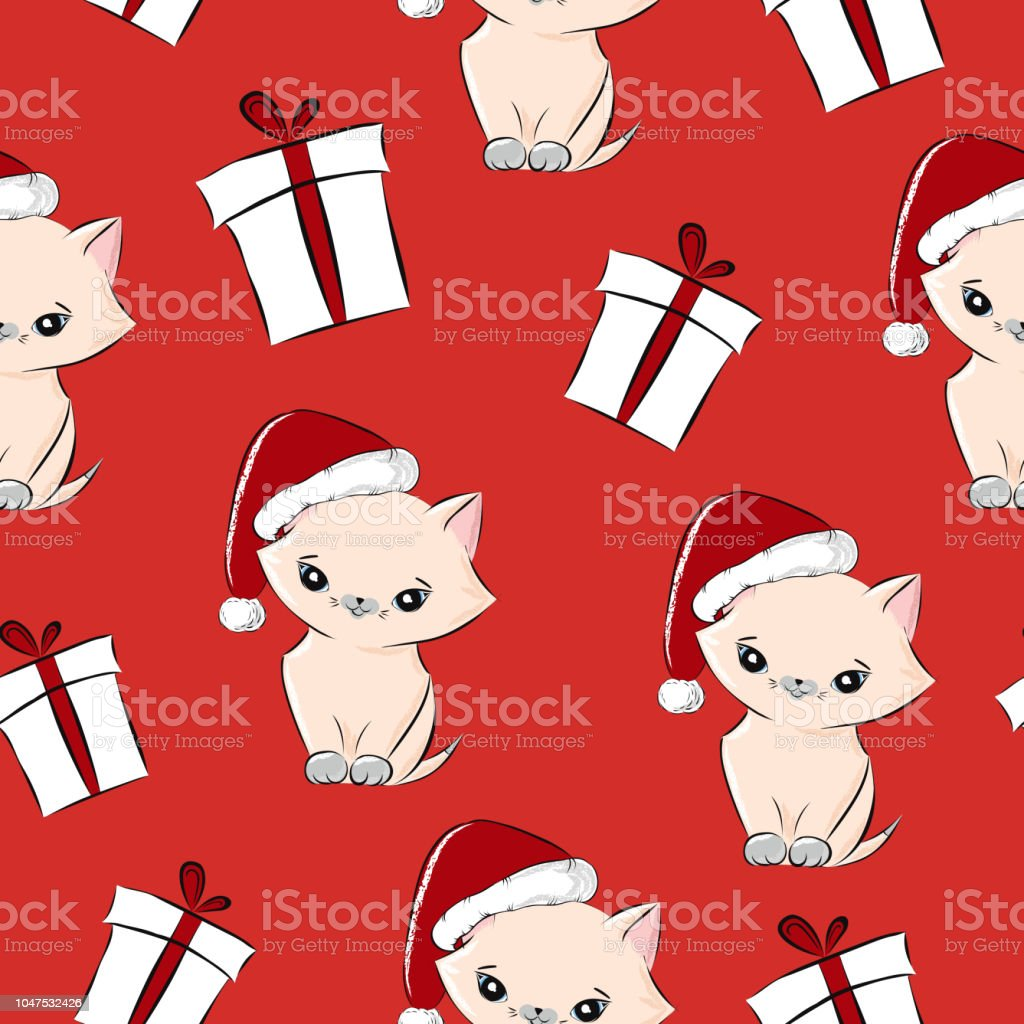 ef400fae7120e Vintage christmas pattern vector seamless for wrapping paper. Cute baby cat  in santa hat and