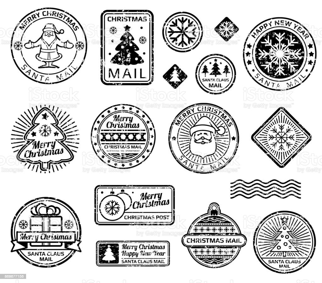 Vintage Christmas Postage Stamps Vector Set Royalty Free Stock