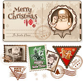 Vintage vector Christmas Postcard and Stamps. for invitation, congratulation and christmas post cards. EPS 10 file with transparency effects and overlapping colors.