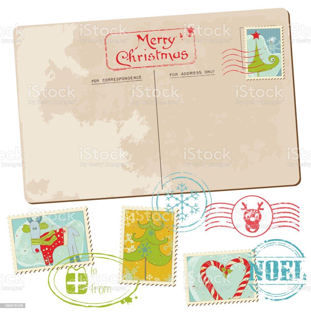 Vintage Weihnachtspostkarte Mit Dem Stempel Stock Vektor Art und ...