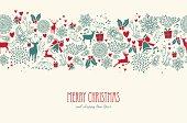 Vintage Christmas reindeer seamless pattern background. EPS10 file.