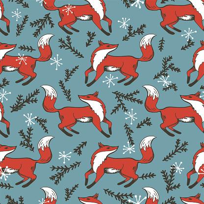 Vintage Christmas Seamless Repeating Pattern. Hand Drawn Fox