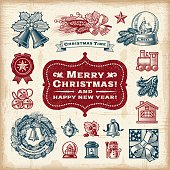 A set of fully editable vintage Christmas elements in woodcut style. EPS10 vector illustration. Includes high resolution JPG.