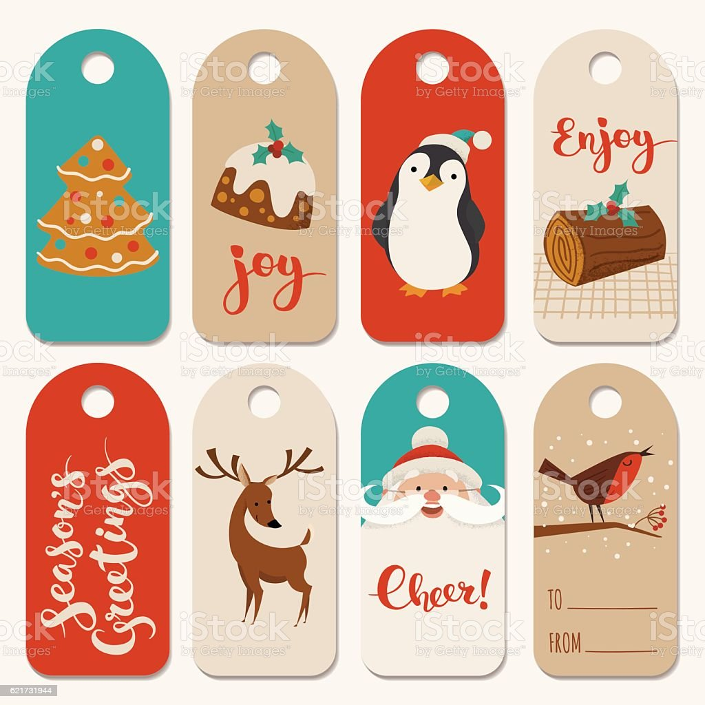 Christmas Designs.Vintage Christmas Tags Designs With Funny Animals And Christmas Symbols Stock Illustration Download Image Now