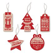 Vintage Christmas and winter tags set with string, textured realistic paper, retail, sale and discount concept