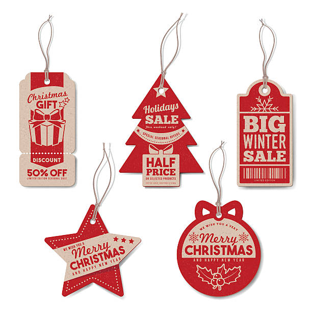 Vintage Christmas tags set Vintage Christmas and winter tags set with string, textured realistic paper, retail, sale and discount concept label stock illustrations