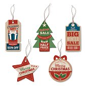 Vintage Christmas tags set with string, textured realistic paper, retail, sale and discount concept