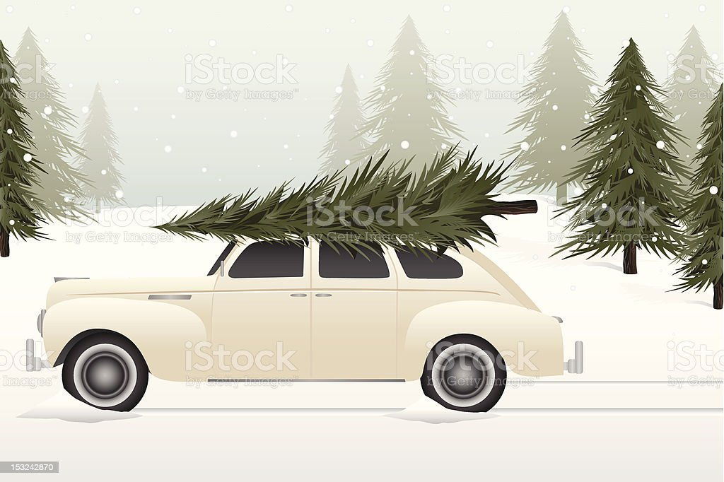Vintage Christmas tree lot royalty-free stock vector art