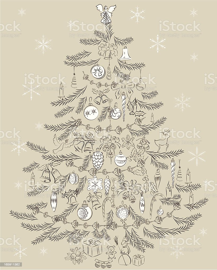 Vintage Christmas Tree Stock Illustration Download Image Now Istock