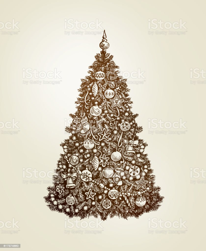 Vintage Christmas Tree With Xmas Decorations Handdrawn Sketch Vector Stock Illustration Download Image Now Istock