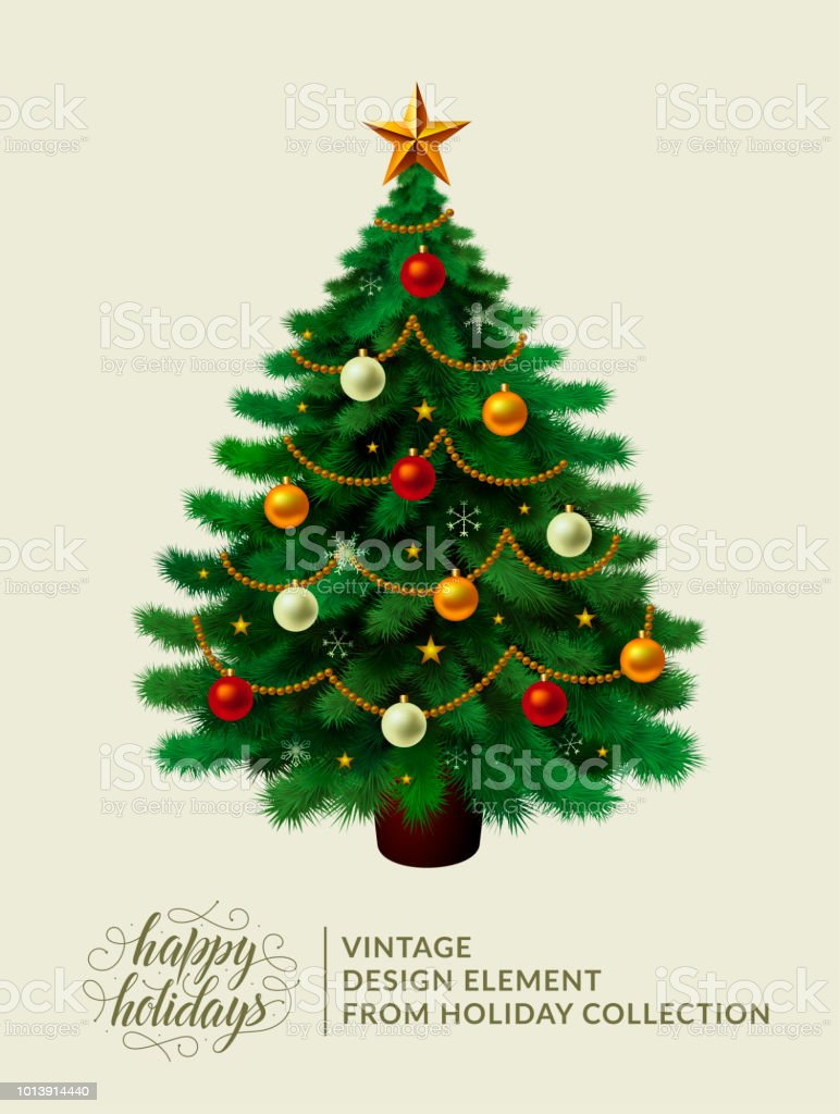 Vintage Christmas Tree With Xmas Decorations Ornaments Stars Garlands Snowflakes Lamps Isolated Merry Christmas And Happy New Year Happy Holidays Text And Logo Vector Illustration Eps 10 Stock Illustration Download Image