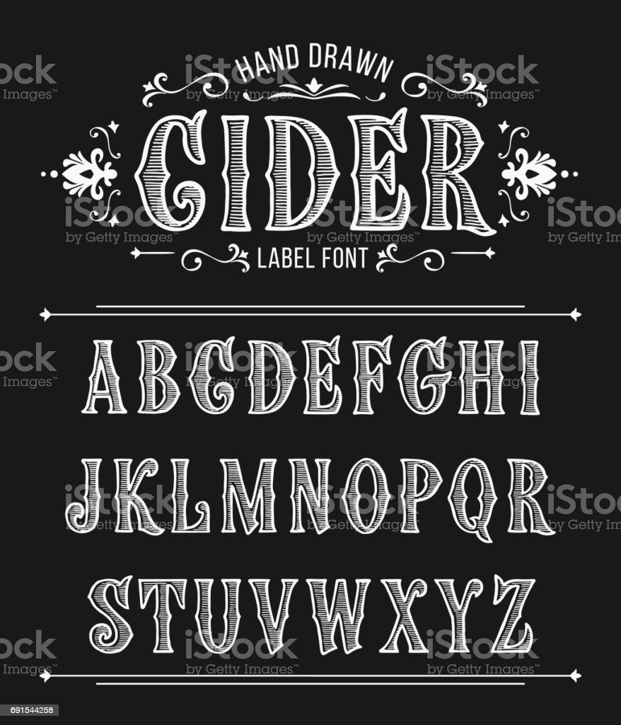 Vintage cider label font for design in vintage style. Vector typeface for labels and any type designs vector art illustration
