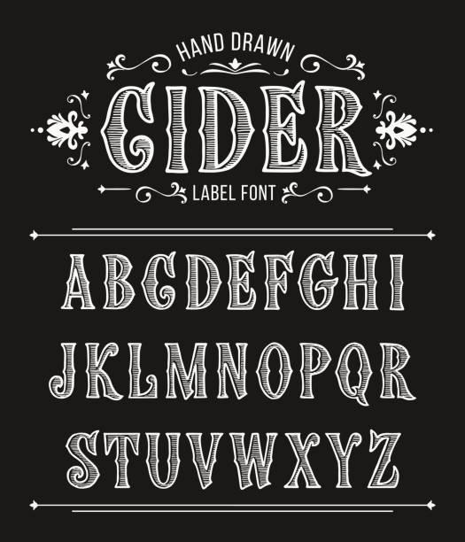 老式的蘋果酒標籤字體設計的復古風格。向量字型標籤和任何類型的設計 - 歸檔 幅插畫檔、美工圖案、卡通及圖標
