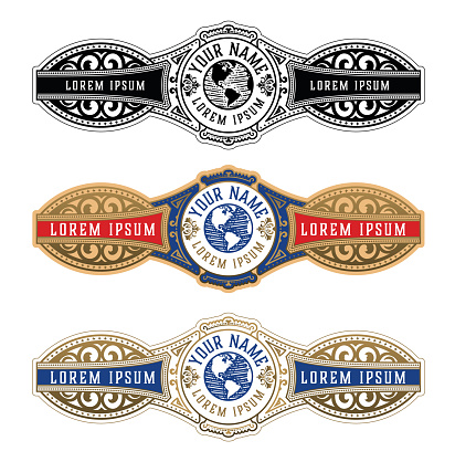 Vintage Cigar Label Template. Vector with emboss and gold layers