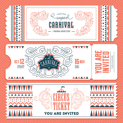 Vintage Circus banner collection. Ticket invitation. Vector illustration
