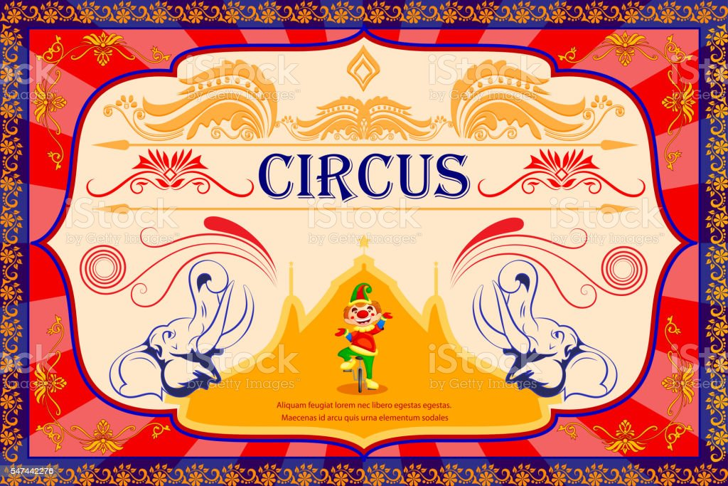 vintage circus cartoon poster invitation for party carnival and
