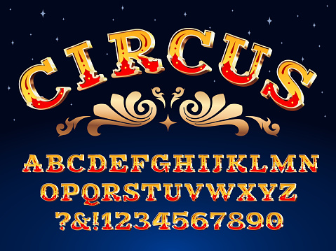 Vintage circus font. Victorian carnival headline signage. Typeface steampunk alphabet sign vector illustration