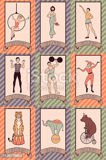 Vintage circus hand drawn characters set, performers, people and animals, vector illustration