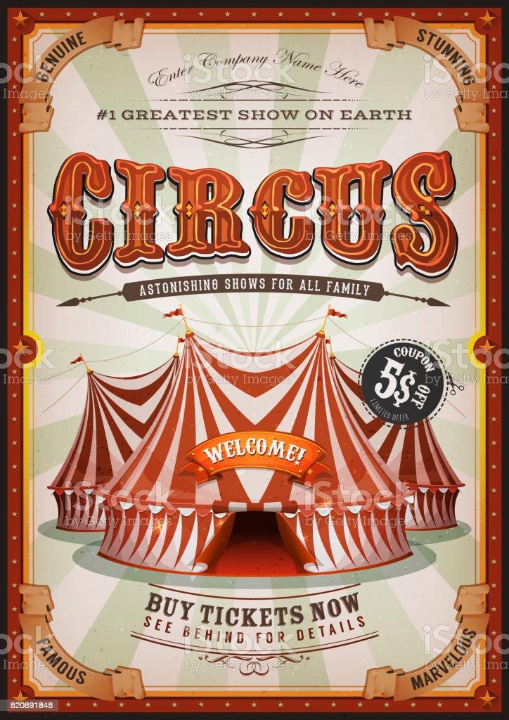 Ilustración de Cartel Circo Vintage Con Tapa Grande y más banco de ...