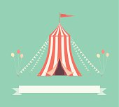 A retro style illustration of a circus tent with pennants This is an editable vector illustration with CMYK color space.