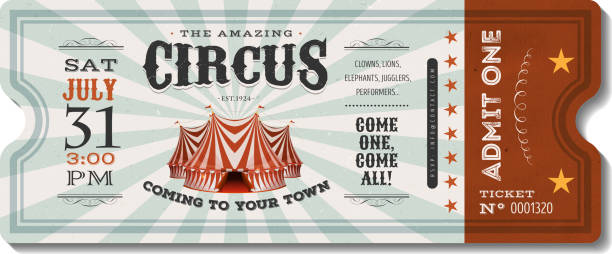 vintage sirk bilet - circus stock illustrations