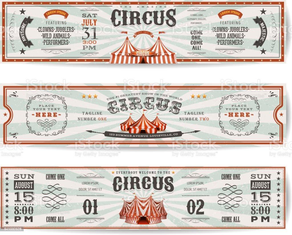 Página Web de circo Vintage Banners plantillas - ilustración de arte vectorial